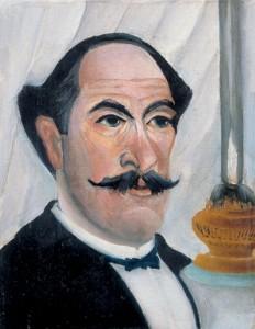 Henri Rousseau-portrait-of-artist-with-lamp